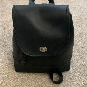 Black All leather vintage backpack